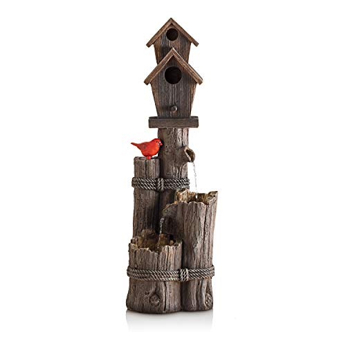 Alpine Corporation 3-Tier Birdhouse Water Fountain - Outdoor Cardinal Bird Waterfall for Garden, Patio, Deck, Porch - Yard Art Decor