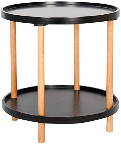 Nest Of Tables Mesa de centro blanca Mesas auxiliares Mesa para portátil Lapdesks Madera maciza Café Esquina informal redonda lateral de 2 niveles Varias Mesas auxiliares con bandejas extraíbles para