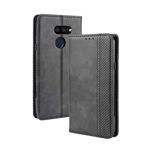 Dedux Flip Hülle kompatibel mit LG K40S, Retro Leder Brieftasche Abdeckung Magnetverschluss Folio Ständer Kartensteckplätze Handyhülle, Schwarz