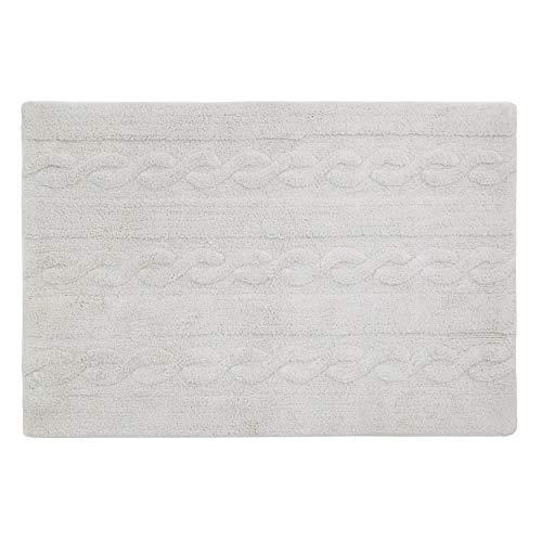 Lorena Canals - Trenzas Gris Perla / Braids Pearl grey - Gris perla - 97 % algodón 3 % otras fibras. Base: Algodón reciclado - 80x120 cm