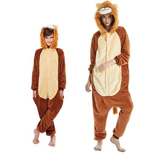 Pijama Kigurumi Animal Disfraz para Carnaval, Halloween, fiesta, Cosplay Chándal Adultos y Niños Leone 6-7 Años