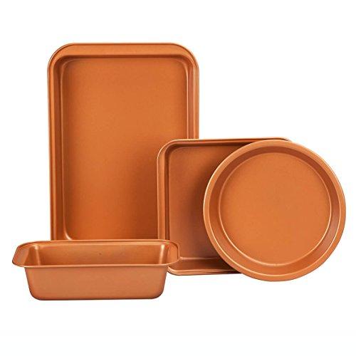 Ceramic Coated Copper Bakeware, 4-Piece Value Set, Nonstick and Dishwasher Safe