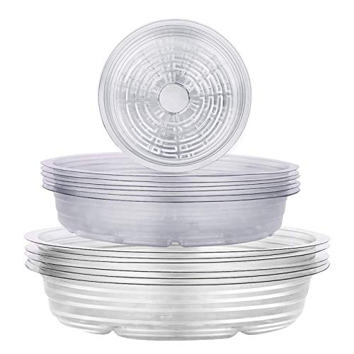 wavraging Clear Plant Saucers 18 Pack Plastic Flower Pot Drip Trays for Indoor & Outdoor Plants Garden Saucers Plant Pot Saucer Trays - Assorted Sizes for Large to Small Pots, 15/20/24 cm