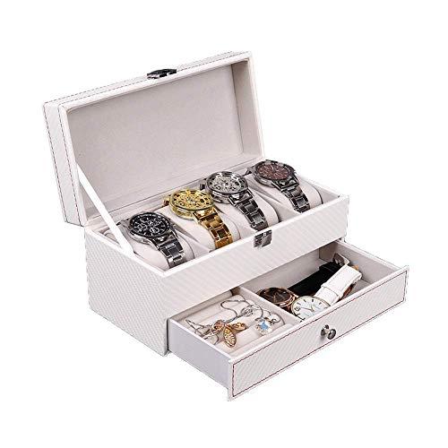 GPWDSN Montre âge boîte Hommes Montre Organisateur boîte en Fibre de Carbone Double Couche boîte à Bijoux verrouillable Blanc Montre Affichage boîte d'âge pour 4 Montres Montre en Cuir boîte d