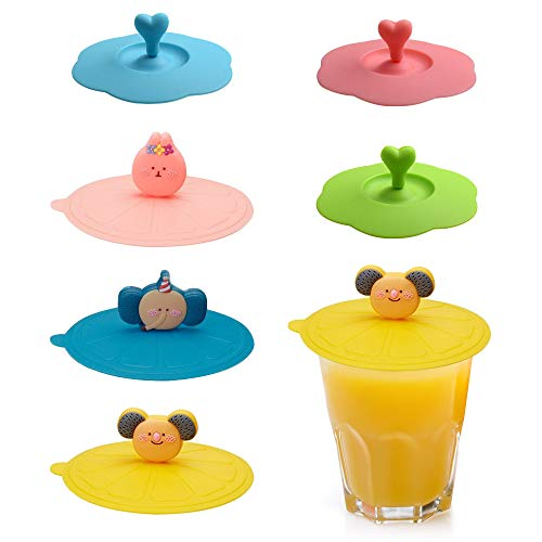 Chingde Tapas de silicona para tazas, 6 piezas Tapa de succión para...
