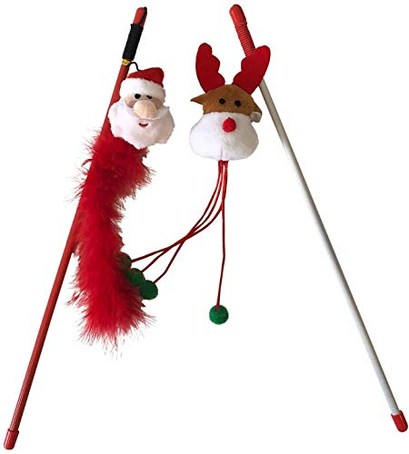 Midlee Santa and Reindeer Christmas Cat Toy Wands- 2 Pack