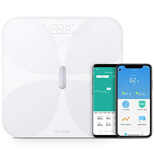 Yunmai Bluetooth Scale for Weight and Body Fat - Glass Top Accurate Body Weight Scale with Rechargeable Battery - Measure and Track 10 Body Composition Factors for Optimal Health - BMI Scale