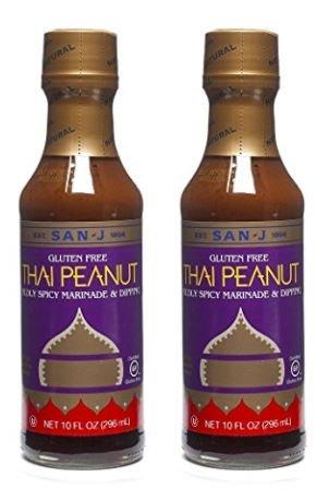 San-J Thai Peanut Mildly Spicy Marninade & Dipping Gluten Free, 10 oz (Pack of 2)