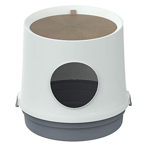 Meijin Caja de arena Desodorante para gatos Cuenca semi-cerrada, divertido inodoro a prueba de salpicaduras, suministros para gatos cerrados, caja de arena (color azul, tamaño: servicio al cliente)