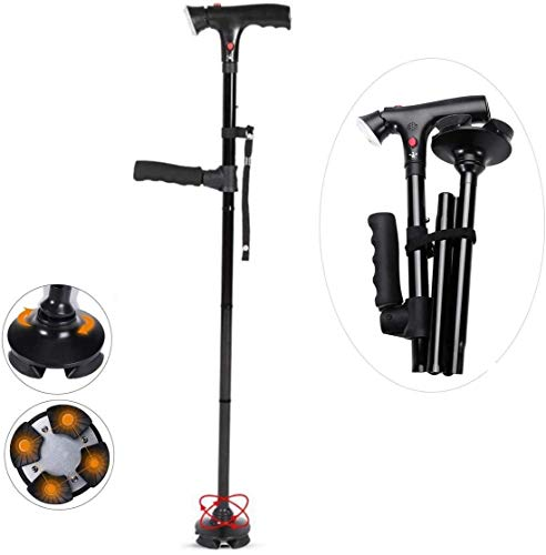 Vouwen Cane Met Alarmknop - Aluminium Walking Aids Met LED Light - Lichtgewicht, Opvouwbaar, Fashionable, Opvouwbaar Travel Stick, Gemakkelijk Bergen