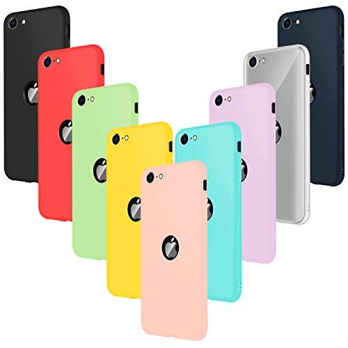 Leathlux 9 × Custodia iphone SE 2020 Cover Silicone Ultra Sottile Morbido TPU Custodie Protettivo Gel Cover per iphone SE 2020 Rosa, Verde,Porpora, Azzurro, Giallo, Rosso, Blu Scuro, Trasparente, Nero