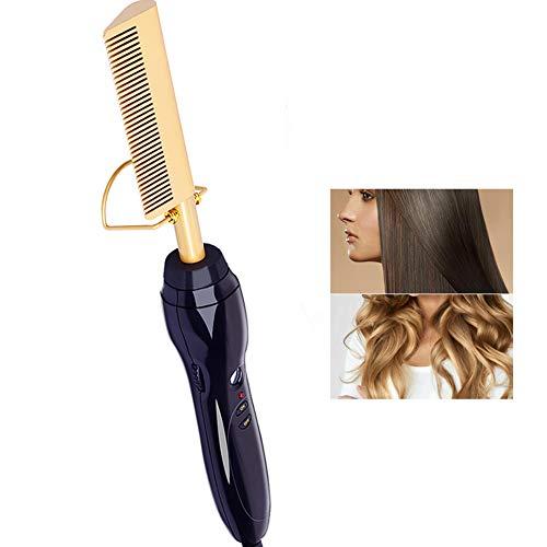 HSART Comb Curler,Professional Ceramic Plate Flat Iron Hair Straightener,Beard Straightener Press Comb,Best for Thick,Thick Hair Straightening