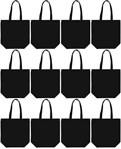 "Large Canvas Tote Bag 16x16x6"" 100% Cotton – Utility, Grocery bag, Favor Bag - Black 12 Pack"