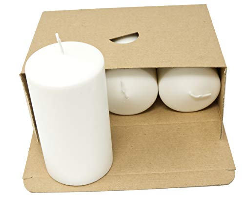 Set of Natural Pillar Candles Unscented Natural Wax Paraffin Free Natural White Candles Night Lights Plastic Free in Kraft Box (Set of 3 Pillar Candles - 70 mm x 130 mm)