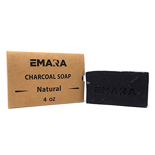 EMARA Bamboo Activated Charcoal Daily Facial Bar - Handcrafted with Premium Quality Ingredients - Face and Body Soap for Acne, Eczema, Blackheads. Best For Dry, Oily, Sensitive Skin, 4 Oz