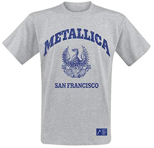 Metallica College Crest Hombre Camiseta Gris M, 90% algodón, 10% poliéster, Regular