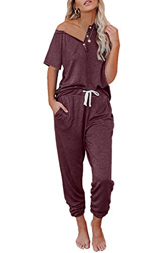 AUTOMET Womens Pajamas Sets Lounge Sets for Women Loungewear Sets with Jogger Sweatpants Sweatsuits 2 Piece Outfits