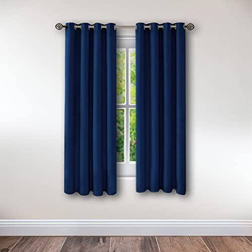 Cortinas térmicas Opacas aislantes de frío y Calor Ideal para habitación o salón. Dos Unidades de 117 x 138 centímetros Cada uno. Azul Marino. EVERHEN HOME