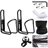2 Pieces Bike Water Bottle Holder Aluminum Bicycle Bottle Cage Mount, 1 Piece Bike Frame Chain Protective, 1 Piece Face Cover Headwrap, 1 Piece Bike Bell Ring and 1 Pair Arm Sleeves