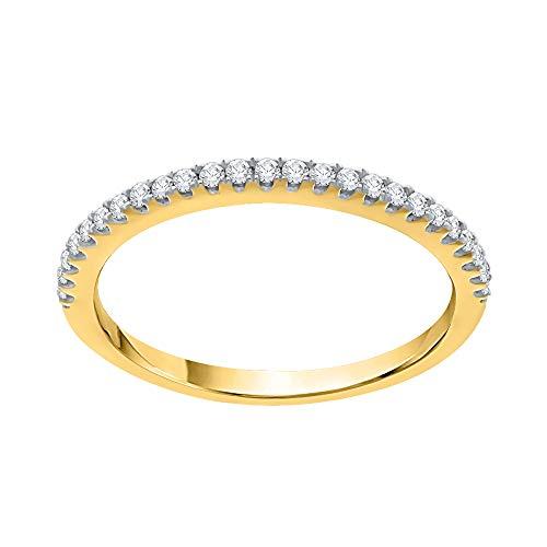 KATARINA Alianza de boda con diamantes engastados en oro de 14 quilates (1/6 quilates, J-K, SI2-I1)