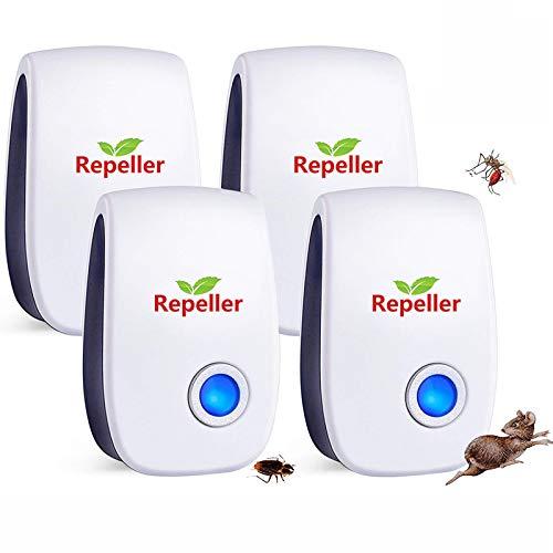Repelente Ultrasónico de Plagas,2021 Nuevo Ahuyentador de Ratones Ultrasonidos,Repelente Ultrasónico Mosquitos Cucarachas,Antimosquitos Eléctrico Insectos Ratas Moscas Arañas Hormigas (4 Paquetes)