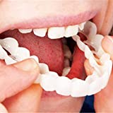 Anzkzo 2 Pares Dientes Blanqueamiento Silicona Confort Ajuste Flex Perfecto Sonrisa Instantánea Sonríe (dentadura Superior e Inferior) Instantáneo Dentaduras- A