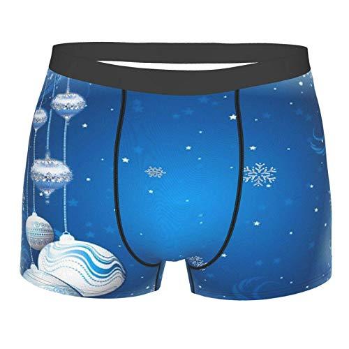 Blu Argento Vacanza Ornamenti Di Natale Uomo Boxer Slip Morbido Mutande Elastiche Biancheria Intima per gli Uomini Come mostrato XL