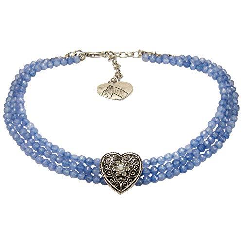 Alpenflüstern Trachten-Perlen-Kropfkette Ornament-Herz - nostalgische Trachtenkette, eleganter Damen-Trachtenschmuck, Dirndlkette hell-blau DHK261