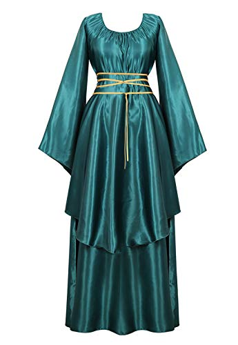 Womens Deluxe Medieval Victorian Costume Renaissance Long Dress Costumes Irish Over Cosplay Retro Gown Green-S