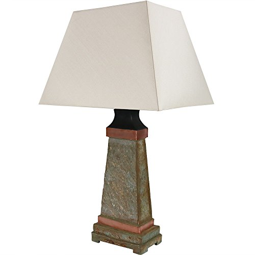 Sunnydaze Indoor/Outdoor Table Lamp - Weather Resistant Copper Trimmed Slate Light - Natural Stone and Metal Interior and Exterior Lighting for Home - 30-Inch