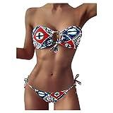 Traje de baño Lateral con Lazo para Mujer, Conjuntos de Bikini de Dos Piezas, Estilo Bohemio Sexy, Estampado geométrico, Ropa de Playa de Cintura Baja