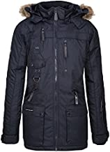Geographical Norway Men's Winter Parka Jacket Chirac Detachable Fur Hood - Dark Blue, XL