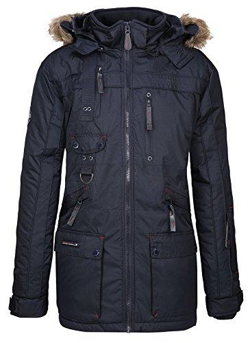 Geographical Norway Chirac - Parka de invierno para hombre, capucha de piel extraíble azul oscuro XL