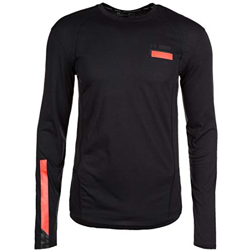 Under Armour UA Swyft Graphique Ls T-Shirt Manches Longues Homme, Black/Radio Red/Reflective (001), FR : S (Taille Fabricant : SM)