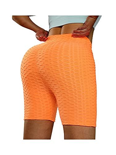N /C Pantalones de yoga de cintura alta para mujer, control de barriga, leggings adelgazantes, entrenamiento, correr, pantalones cortos con textura de panal fruncido