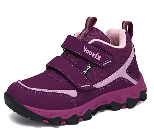 Voovix Kinder Schuhe Wanderschuhe Klettverschluss Trekkingschuhe Outdoor Freizeitschuhe für Jungen Sportschuhe Lila Rose28