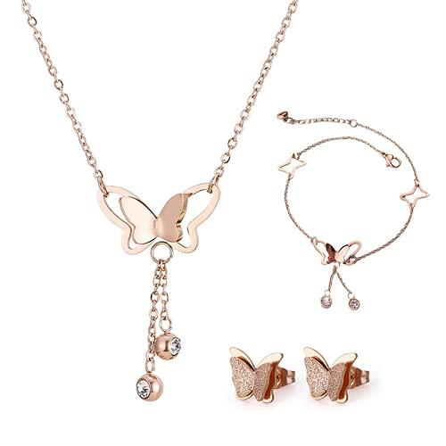 TOFBS Juego de aretes de mariposa y collar con anillo de acero inoxidable para mujer, circonita cúbica, acabado mate, lindos conjuntos de joyas para mujeres y niñas, gran cumpleaños, graduación