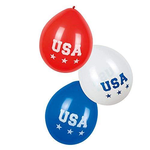 Boland 44962 - Latexballons USA, 6 Stück, Größe ca. 25 cm, 3 Motive sortiert, Amerika, Blau, Weiß, Rot, Luftballon, Geburtstag, Gartenparty, Mottoparty, Karneval, Hängedekoration