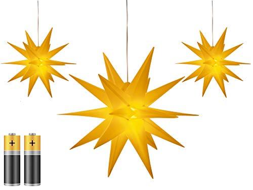 3er Pack 3D Leuchtstern - Weihnachtsstern inkl. warm-weiß beleuchtet   für Innen und Außen geeignet   hängend   100cm Zuleitung   ca. Ø 25 cm   batteriebetrieben (gelb)