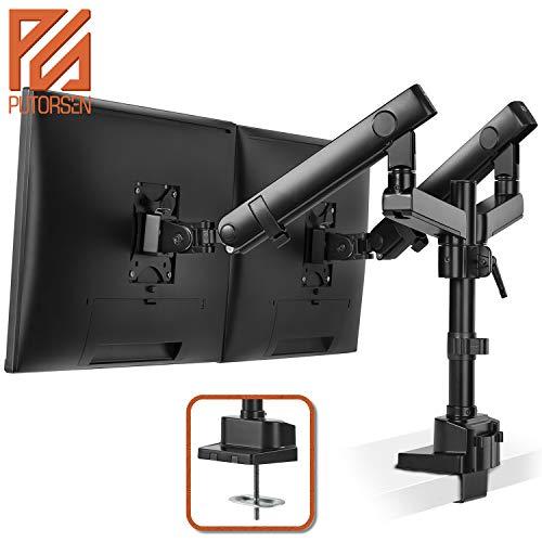 PUTORSEN® Monitor Tischhalterung 2 Monitore - Premium Aluminium Ergonomische Schwenkbare Neigbare Höhenverstellbar Monitorhalterung für zwei 17