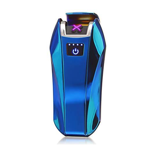 Green Grass GreenGrass Elektro Feuerzeug USB, Elektrisch Dopple Lichtbogen Plasma Lighter,Elektronisches Aufladbar Winddichte Flammenlose Feuerzeug Geschenkbox (Metall blau) Blau