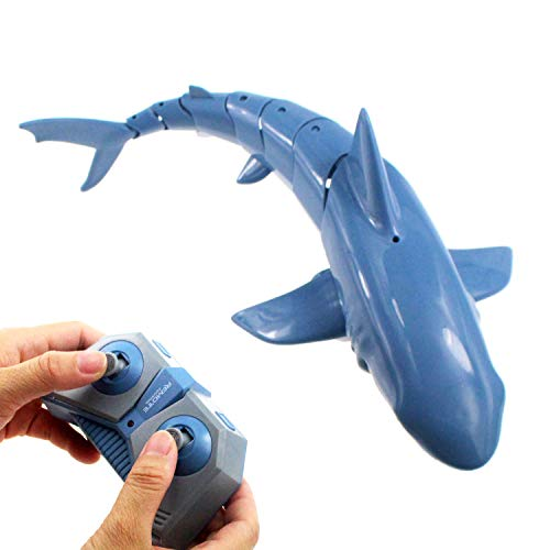 Tipmant 2.4G Radio Remote Control Shark RC Fish Boat Electric Large Size for Swimming Pool Lake Kids Water Toys Gifts (Blue)