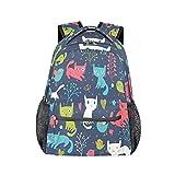 Interesante mochila ilustración de gato, personalizada, para libros, mochila de ocio para adolescentes y niñas, mochila para ordenador portátil, atlética, camping, viajes, escuela, mochila impermeable