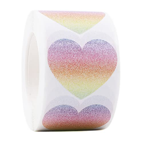Mercei 1.5' Rainbow Heart Stickers with Faux Glitter Background, Heart Shaped Adhesive Sticker Labels , 500 Pcs Love Stickers for Personal and Business Uses