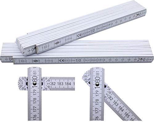 2 Stück Adga 250 plus Qualitäts Zollstock 2m mit Winkelskala (30°/60°/90°) und 90/180 Grad Winkeleinrastung, weiß ohne Werbeaufdruck