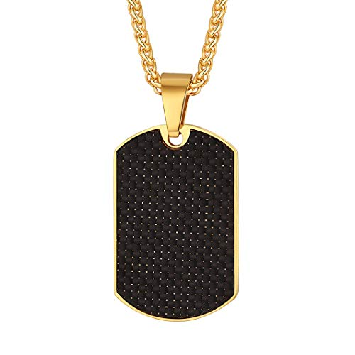 Richsteel Black Carbon Fiber Dog Tag Pendant Necklace, with Resziable Wheat Chain(22'+2'), Gift for Men/Father/Boyfriend, 18K Gold Plated Stainless Steel Jewelry Army Card Necklace, RP20038K