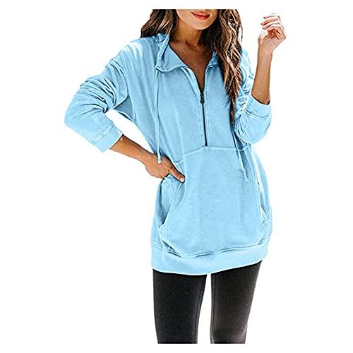 Briskorry Camiseta de manga larga para mujer, cuello en V, con cremallera, monocolor, con bolsillo, estilo casual, moda, azul, L