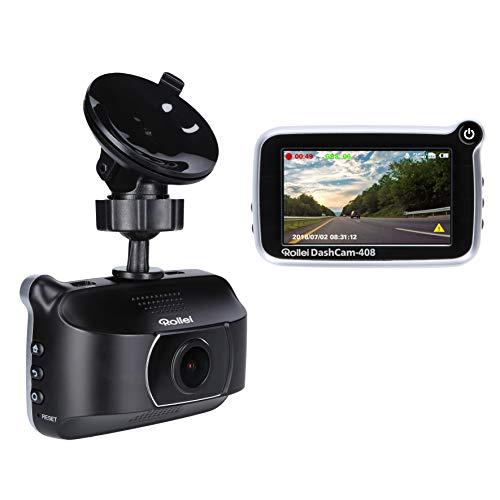 Rollei DashCam-408 - Cámara GPS de Alta resolución para Coche con Full HD (1080p/30fps) y grabación automática de vídeo de Emergencia, Incluye Sensor de Movimiento y Sensor G