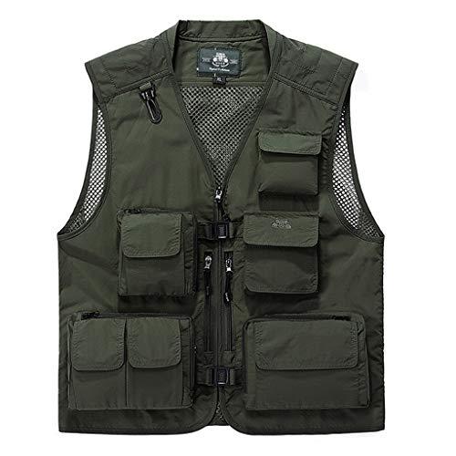 WYQ- Pocket vest visserij, de lente en de zomer dunne outdoor tooling Mesh multi-pocket vest sneldrogend fotografie vest Duurzaam (Color : ArmyGreen, Size : XL)
