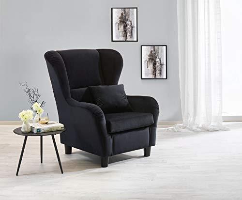 lifestyle4living Ohrensessel in schwarzem Samt bezogen   Der perfekte Sessel für entspannte, Lange Fernseh- und Leseabende. Abschalten und genießen!
